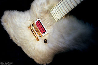Billy Gibbons white fur guitar